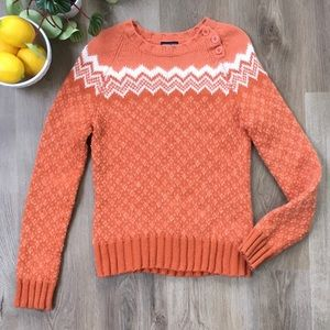 American Eagle Orange Wool Knit Sweater w/ Buttons